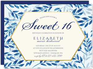 Elegant Blue Watercolor Foliage Birthday Invitation