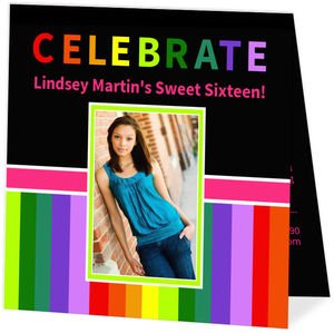 Modern Black Sweet Sixteen Birthday Invitation