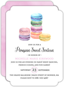 Watercolor Macarons Sweet Sixteen Birthday Invitation
