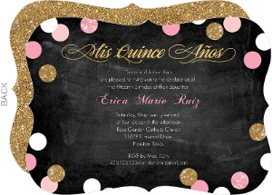 Sparkling Pink and Gold Quinceanera Invitation
