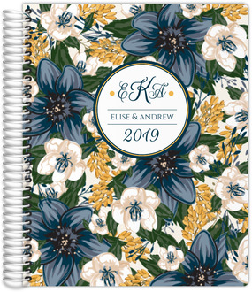 Beautiful Modern Blue Monogram Floral Weekly Planner
