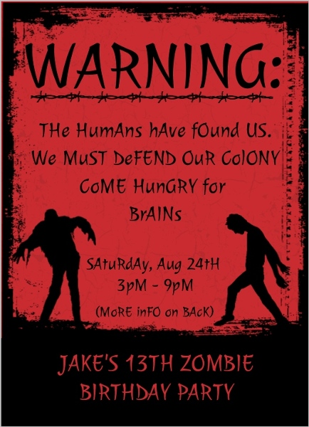 Red Zombie Kids Birthday Party Invitation Teen Birthday Invitation
