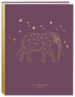 Faux Gold Geometric Elephant Daily Planner