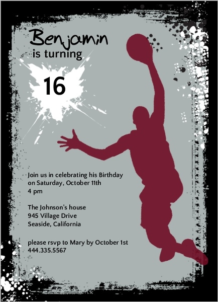 Gray And Black Basketball Grunge Birthday Party | Teen Birthday Invitation