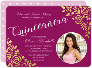 Gold Foil Floral Quinceanera Invitation