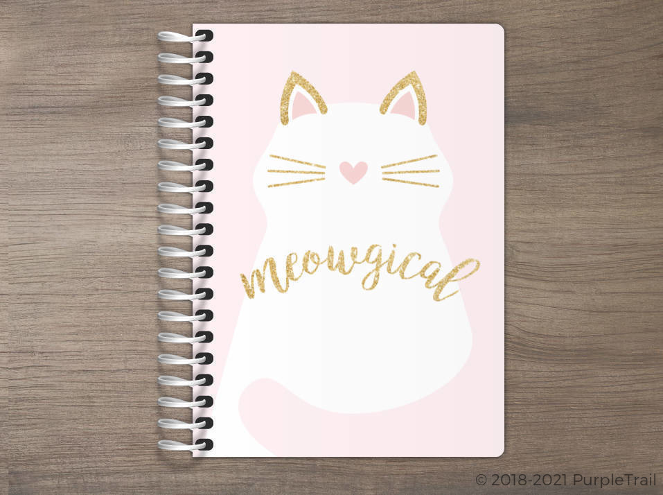 Faux Glitter Meowgical Cat Tiny Planner