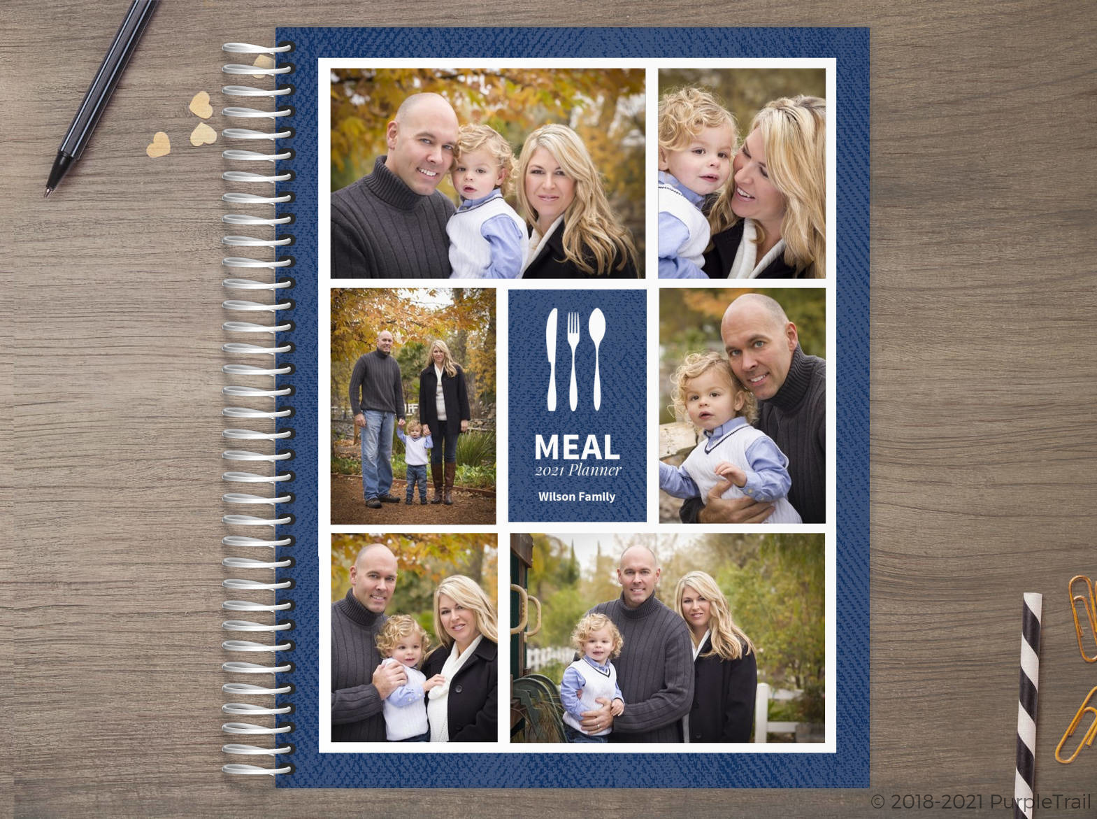 Faux Denim Photo Grid Meal Planner