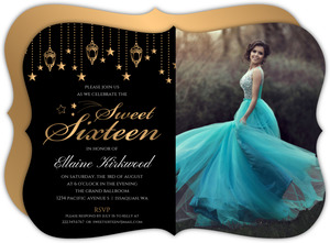 Golden Hanging Lights Sweet 16 Invitation