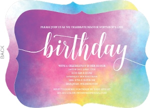Colorful Watercolor Birthday Invitation