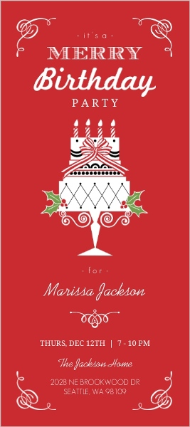 Red Teen Merry Birthday Party Invitation