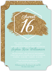Modern Chick Faux Glitter Sweet 16th Birthday Invitation