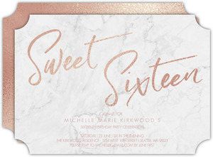 Faux Rose Gold And Marble Sweet Sixteen Birthday Invitation
