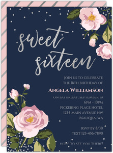 Vintage Pink Roses Birthday Party Invitation