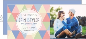 Modern Pastel Geometric Pattern Save The Date Card