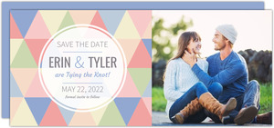 Modern Pastel Geometric Pattern Save The Date Announcement