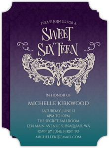 Gradient Damask Sweet Sixteen Birthday Invitation