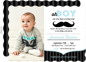 blue and black moustache 1st birthday invitation