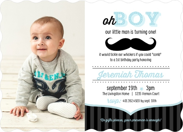 Blue and Black Moustache 1st Birthday Invitation Boy Birthday