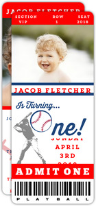 Baseball Ticket First Birthday Invitation