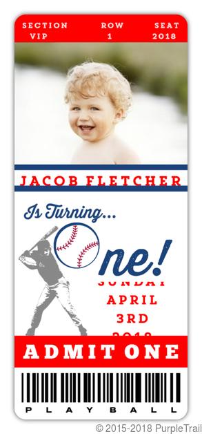 Baseball Ticket First Birthday Invitation