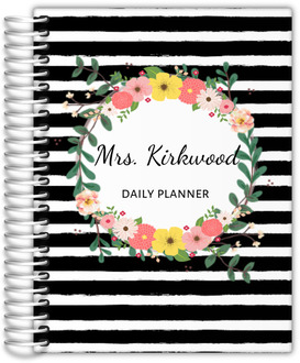 Black And White Stripes Floral Monthly Planner