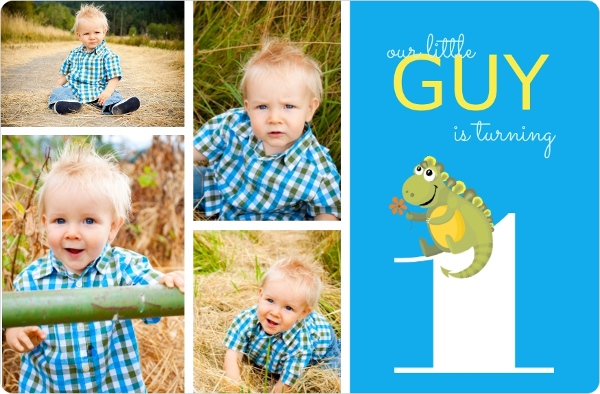 Blue and Green Dinosaur Boys First Birthday Invitation Boy