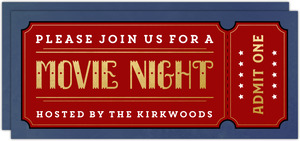 Faux Gold and Red Ticket Movie Night Invitation