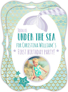 Blue and Purple Mermaid First Birthday Invitation