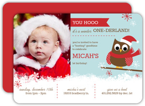 Winter One Derland Blue And Red Owl Birthday Invitation