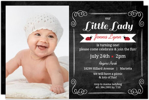 Chalkboard Ladybug First Birthday Invitation