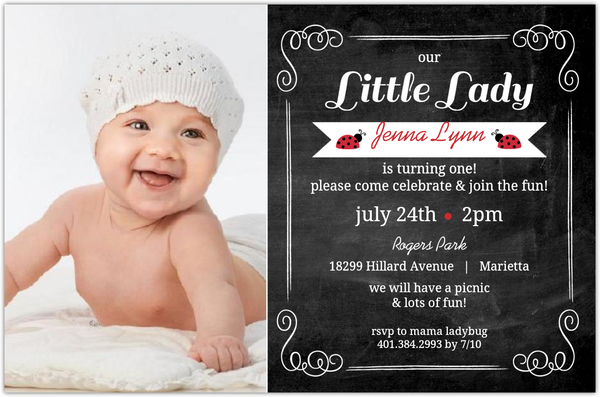 Chalkboard ladybug first birthday invitation girls birthday chalkboard ladybug first birthday invitation filmwisefo