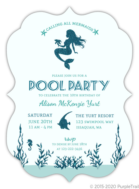 Faux Glitter Mermaid Birthday Party Invitation