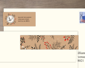 Winter Leaves and Berries Address Label
