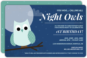 Night Owl First Birthday Invitation