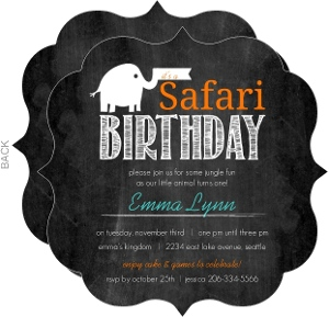 Chalkboard Safari Elephant 1St Birthday Invitation