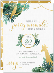 Faux Foil Party Animals Kids Birthday Invitation