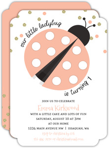 Coral And Glitter Confetti Ladybug Birthday Invitation