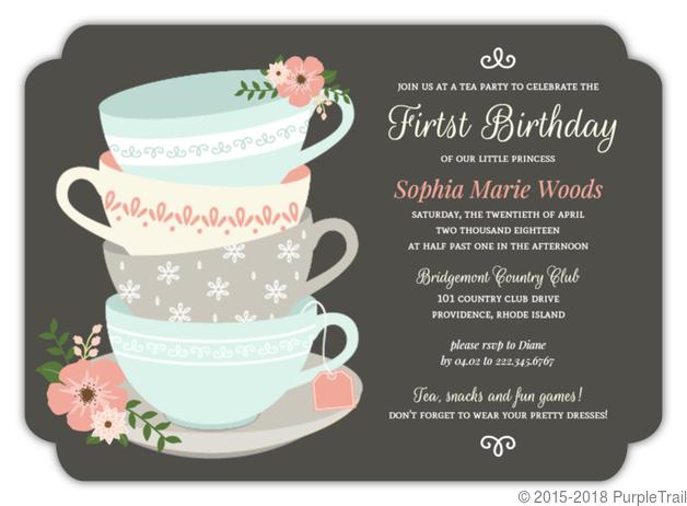 Floral Elegant Tea Party First Birthday Invitation Girls Birthday