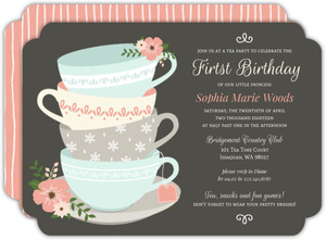 Floral Elegant Tea Party First Birthday Invitation