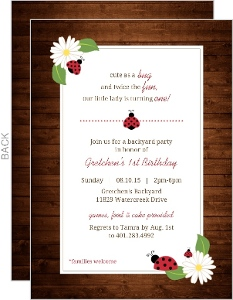 Rustic Woodgrain Ladybug Birthday Invitation