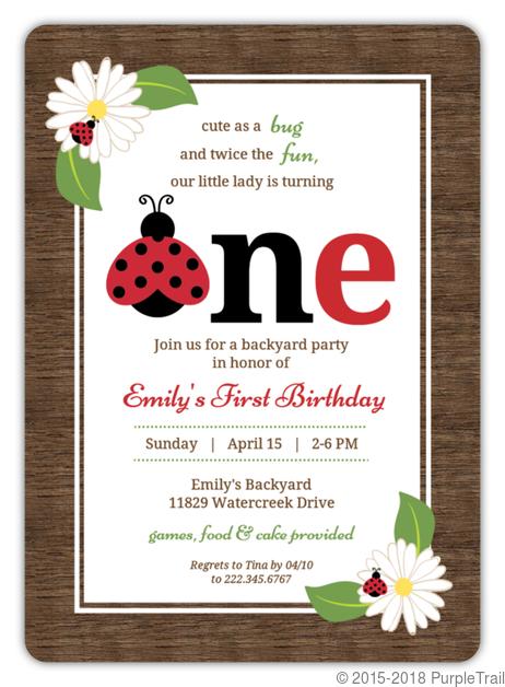 Rustic woodgrain ladybug birthday invitation first birthday rustic woodgrain ladybug birthday invitation filmwisefo