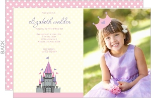 Pink Polka Dot Photo Princess Party Invitations