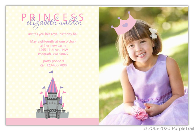 pink polka dot photo princess party invitations girls birthday