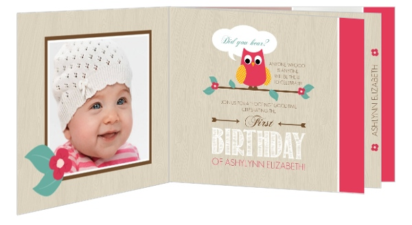 Wood Grain Flower Pink Owl Birthday Invitation