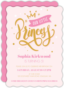 Pink Little Princess Birthday Party Invitation