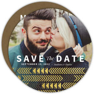 Gold Foil Aztec Arrow Pattern Save The Date Announcement