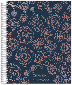 Faux Rose Gold Floral Pattern Daily Planner