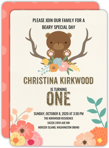 Beary Happy Birthday Party Invitation