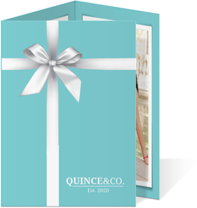 Teal   White Ribbon Quinceanera Invitation