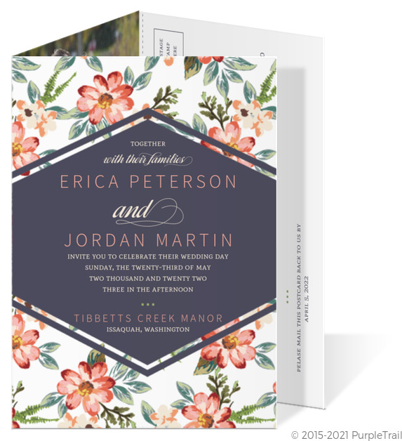 Delicate Watercolor Floral Trifold Wedding Invitation Wedding